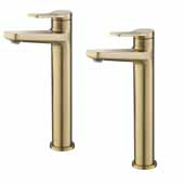 KRAUS Indy™ Single Handle Vessel Bathroom Faucet in Brushed Gold (2-Pack)