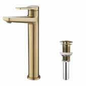 Indy™ Single Handle Vessel Bathroom Faucet and Pop Up Drain in Brushed Gold, Spout Height: 9-1/4', Spout Reach: 5-1/8'