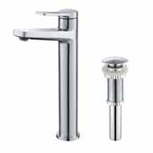 Indy™ Single Handle Vessel Bathroom Faucet with Matching Pop-Up Drain in Chrome, Spout Height: 9-1/4'', Spout Reach: 5-1/8''