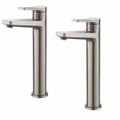 KRAUS Indy™ Single Handle Vessel Bathroom Faucet in Spot Free Stainless Steel (2-Pack)