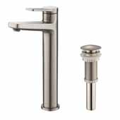 Indy™ Single Handle Vessel Bathroom Faucet in Spot Free Stainless Steel with Matching Pop-Up Drain, Spout Height: 9-1/4', Spout Reach: 5-1/8'
