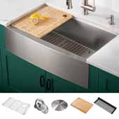 Kore™ Workstation 33'' Single Bowl 16 Gauge Stainless Steel Farmhouse Apron Front Kitchen Sink, Satin Finish