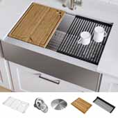 Kore™ Workstation 33'' W Farmhouse Flat Apron Front 16 Gauge Single Bowl Stainless Steel Kitchen Sink with Accessories, 33'' W x 20-1/4'' D x 10'' H
