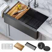 Kore™ Workstation 33'' W Farmhouse Modern Flat Apron Front 16 Gauge Stainless Steel Single Bowl Kitchen Sink in Gunmetal Finish, 32-7/8'' W x 20-1/4'' D x 10-1/2'' H