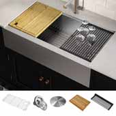 Kore™ Workstation 36'' Farmhouse Flat Apron Front 16 Gauge Single Bowl Stainless Steel Kitchen Sink with Accessories, 36''W x 20-1/4''D x 10''H