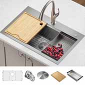 Kore™ Workstation 32'' Drop-In or Undermount Single Bowl Stainless Steel Kitchen Sink with Cutting Board, Satin Finish