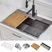 Kore™ Workstation 30'' W Drop-In or Undermount 16 Gauge Single Bowl Stainless Steel Kitchen Sink with Accessories, 30'' W x 22'' D x 9'' H