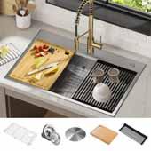 "KRAUS Kore™ ADA Workstation 33"" Drop-In Topmount 16 Gauge Stainless Steel Single Bowl Kitchen Sink with Accessories In Stainless Steel, 33'' W x 22'' D x 6'' H"