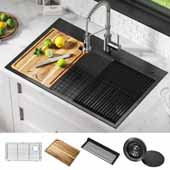 Kore™ Workstation 33'' W Topmount Drop-In 16 Gauge Stainless Steel Single Bowl Kitchen Sink in Gunmetal Finish, 33'' W x 22'' D x 9-1/2'' H