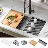 KRAUS Kore™ ADA Workstation 32'' Undermount 16 Gauge Stainless Steel Single Bowl Kitchen Sink with Accessories