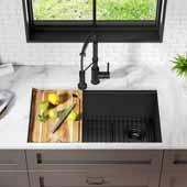 Kore™ Workstation 32'' W Undermount 16 Gauge Stainless Steel Single Bowl Kitchen Sink in Gunmetal Finish, 32'' W x 19'' D x 10-1/2'' H
