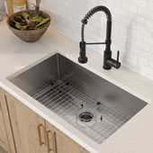 32'' 16 Gauge Standart PRO™ Kitchen Sink Combo Set with Matte Black Bolden™ 18'' Kitchen Faucet and Soap Dispenser 32''W x 19''D x 10''H