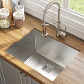 24'' 18 Gauge Pax™ Laundry and Utility Sink Combo Set with Bolden™ 18'' Kitchen Faucet and Soap Dispenser Stainless Steel Finish 24''W x 18-1/2''D x 12''H