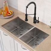 33'' 16 Gauge Double Bowl 60/40 Standart PRO™ Kitchen Sink Combo Set with Matte Black Bolden™ 18'' Kitchen Faucet and Soap Dispenser 32-3/4''W x 19''D x 10''H