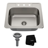 25'' Topmount Single Bowl 18 Gauge S/S  Kitchen Sink with NoiseDefend™ Soundproofing