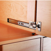 Medium Duty 30 lb Pocket Door Slides with Attached Hinge Base Plates, 18'' Long, Anochrome Finish - Hinges not Included