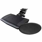 Knape & Vogt Ovation Arm and Keyboard Tray with Swivel and Tilt Mousing Surface, Black, 21-4/5 Long Track