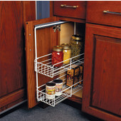 White Pull-Out Base Cabinet Organizer with 2 Vertical Basket Postions, 1-3/4''W x 22''D x 21-3/8''H