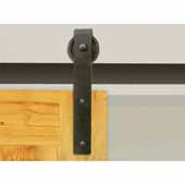 Knape & Vogt 3'' Side Mount Hook Carriers, Flat Rail Sliding Door Hardware Kit, Black