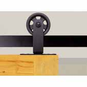 Knape & Vogt 3'' Top Mount Carriers, Flat Rail Sliding Door Hardware Kit, Black