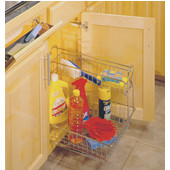 11'' Frosted Nickel Multi-Use Basket with Handle and Accessory Basket for Kitchen or Vanity Sink Cabinet, Min Cab Opening: 12-5/8'' W x 19-1/4'' D x 15-15/16'' H