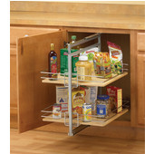 20-1/2'' H - 22-1/2'' H Center-Mount Base Pantry Roll-Out, Frosted Nickel
