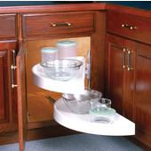 27-7/8'' Diamater Polymer Half-Round 2-Shelf Lazy Susan, Glide-Out Top & Bottom Shelves