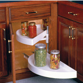 39-7/8'' Diamater Polymer Half-Round 2-Shelf Lazy Susan, Pivot-Out Top Shelf, Glide-Out Bottom Shelf