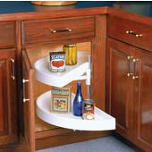 27-7/8'' Diamater Polymer Half-Round 2-Shelf Lazy Susan, Pivot-Out Top & Bottom Shelves