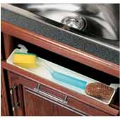 Polymer Deep Depth Sink Front Tray with Tab Stops, White, 15-3/8''W x 2-3/4''D x 3''H