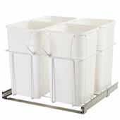 Four Waste Bin Pull-Out, 27 Qt. White, 23-3/8'W x 19'D x 22'H, Min. Cabinet Opening: 24'W