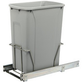 Single-Bin Waste Bin Pull-Out, 35qt. Platinum, 9-3/8''W x 20-1/8''D x 18-13/16''H, Min. Cabinet Opening: 10'' Wide