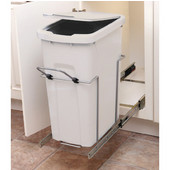 Single-Bin Waste Bin Pull-Out, 35qt. White, 9-3/8''W x 20-1/8''D x 18-13/16''H, Min. Cabinet Opening: 10'' Wide