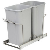 Double-Bin Waste Bin Pull-Out, 27qt. Platinum, 11-3/8''W x 22-7/16''D x 18-3/4''H, Min. Cabinet Opening: 12'' Wide