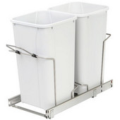 Double-Bin Waste Bin Pull-Out, 27qt. White, 11-3/8''W x 22-7/16''D x 18-3/4''H, Min. Cabinet Opening: 12'' Wide