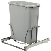 Single-Bin Waste Bin Pull-Out, 20qt. Platinum, 14-3/8''W x 20-1/8''D x 17-5/16''H, Min. Cabinet Opening: 15'' Wide