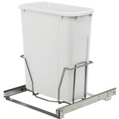 Single-Bin Waste Bin Pull-Out, 20qt. White, 14-3/8''W x 20-1/8''D x 17-5/16''H, Min. Cabinet Opening: 15'' Wide
