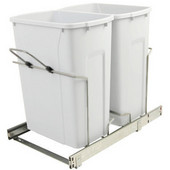 Double-Bin Waste Bin Pull-Out, 35qt. White, 14-3/8''W x 23-1/8''D x 18-13/16''H, Min. Cabinet Opening: 15'' Wide
