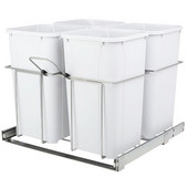 4-Bins  Waste Bin Pull-Out, 27qt. White, 23-3/8''W x 22-1/2''D x 19''H, Min. Cabinet Opening: 24'' Wide