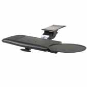 Knape & Vogt Combo Pack Extended Range Keynetix Keyboard Arm and Comfort Keyboard & Mouse Over Platform with Palm Support, Black, 21'' Track Length