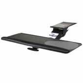 Knape & Vogt Combo Pack Extended Range Keynetix Keyboard Arm and Full Width, Phenolic Keyboard Platform with Palm Support, Black, 21'' Track Length
