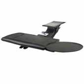Knape & Vogt Combo Pack Sit-Stand Keynetix2 Keyboard Arm and Comfort Keyboard & Mouse Over Platform with Palm Support, Black, 21'' Track Length