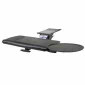 Knape & Vogt Combo Pack Extended Range Keynetix Keyboard Arm and Comfort Keyboard & Mouse Over Platform with Palm Support, Black, 18'' Track Length