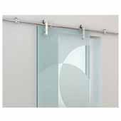 Knape & Vogt 78-3/4'' Sliding Door Hardware Face Mount Strap Stick Kit for Wood or Glass Doors Up to 250 lbs., Stainless Steel