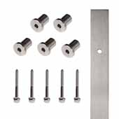 Knape & Vogt 72'' Barn Door Flat Rail with 5 Mounting Brackets, Stainless Steel, Individual Order