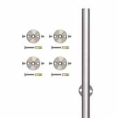 Knape & Vogt 78-3/4'' Barn Door Round Rail with 4 Mounting Brackets, Stainless Steel, Individual Order