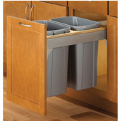 Soft Close, Top Mount Waste & Recycling Double Bins, Min. Cabinet Opening: 15'' Wide