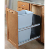 12.5 Gallon Platinum Soft Close, Bottom Mount Single Waste & Recycling Bin, Min. Cabinet Opening: 12'' Wide