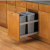 Double 27 Quart (6.75 Gallon) Undermount Soft Close Waste Bin Pull-Out, Platinum, Min. Cabinet Opening: 12'' Wide