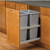 Double 50 Quart (12.5 Gallon) Platinum Soft Close, Undermount Double Waste & Recycling Bins, Min. Cabinet Opening: 16'' Wide